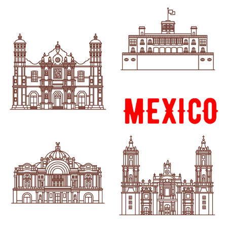 arts symbols: Mexican architecture vector icons. Our Lady of Guadalupe Basilica, Chapultepec Castle, Mexico Palace of Fine Arts, Metropolitan Cathedral. Vector thin line symbols of famous buildings for souvenirs, travel map guide