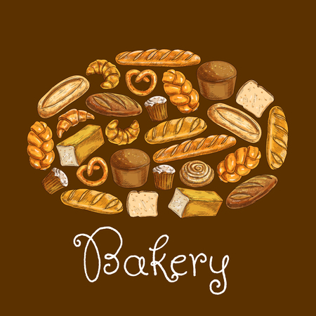 Bread sorts in shape of bread loaf. Bakery emblem. Vector icons of croissant, sliced bread and baguette, muffin and bun, loaf, pretzel and bagel, pie for patisserie, cafe, bakery, pastry shop design Illustration