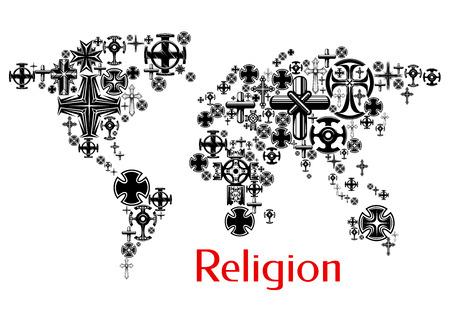 cristianismo: La religión mapa del mundo con símbolos cristianismo cruz. diseño de mapas con crucifijo religioso iconos de decoración y diseño elemento