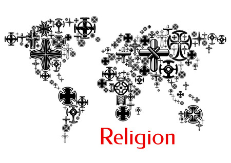 church worship: Religion world map with christianity cross symbols. Map design with religious crucifix icons decoration and design element