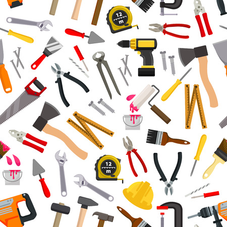 paint tool: Vector pattern of repair working tools. Vector pattern of working tool paint roll brush, hammer, ax, ruler, level, file, electric saw, hand saw hatchet, ruler, spanner. Construction and carpentry design