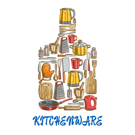 Kitchen utensils and kitchenware emblem in shape of cutting board. Kitchen decoration of vector sketch icons kettle, saucepan, frying pan, cooking glove, rolling-pin, cup, whisk, mixer, grater