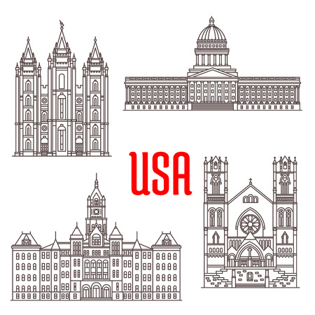 lake district: Famous buildings symbols and icons of US. Salt Lake Temple, Utah State Capitol, Salt Lake City and County Building, Cathedral of the Madeleine. American architecture landmarks for souvenirs, travel map elements Illustration