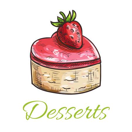 porcion de torta: postre torta vector emblema. Esbozado en color magdalena con fresa y relleno de mermelada. Plantilla para la tarjeta de menú de café, el letrero en la cafetería, tienda de la panadería etiqueta