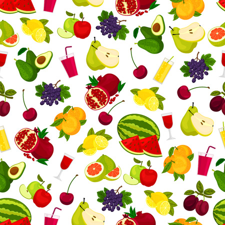 variety: Fresh ripe fruits, berries and juicy drinks pattern.