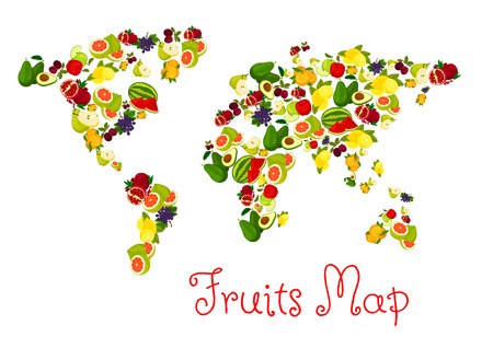 country kitchen: Fruits world map design elements. Vector map with continents of exotic and tropical fruits pattern. Template for healthy diet decoration or infographics symbols Illustration