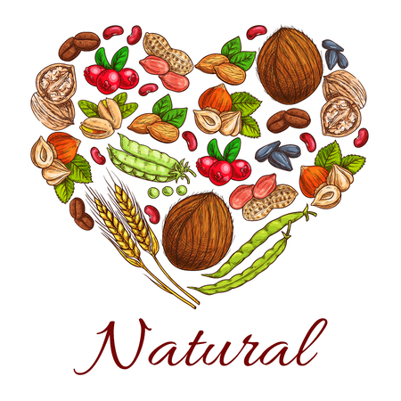Healthy nuts, grain, berries icons in heart shape. Vegetarian coconut, hazelnut and pea, wheat ears, peanut, cranberry and walnut, coffee beans and sunflower seeds Illustration