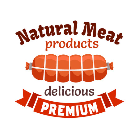 MEAT LOAF: Natural meat products emblem. Smoked sausage, bacon loaf, meat delicatessen wurst. Icon with red ribbon for butcher shop, restaurant menu, grocery farm store signboard Illustration