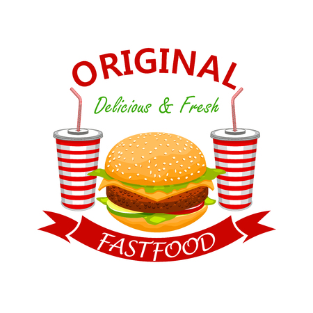 cold drinks: Tasty cheeseburger with beef cutlet and cold refreshing soda drinks. Fast food vector emblem. Fresh and yummy bun with meat cutlet, cheese and vegetables Illustration