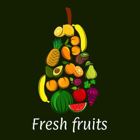 exotic fruits: Pear icon with tropical and exotic fruits. Vector decoration element of fruit symbols banana, watermelon, avocado, grape, apricot, apple, mango, lemon, orange. Healthy lifestyle concept emblem