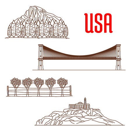 napa: American nature landmarks and sightseeing symbols of Yosemite National Park, Napa Valley Viticultural Area, Brooklyn Bridge, Alcatraz Island. US architecture and and national showplaces icons for souvenirs, travel map elements Illustration