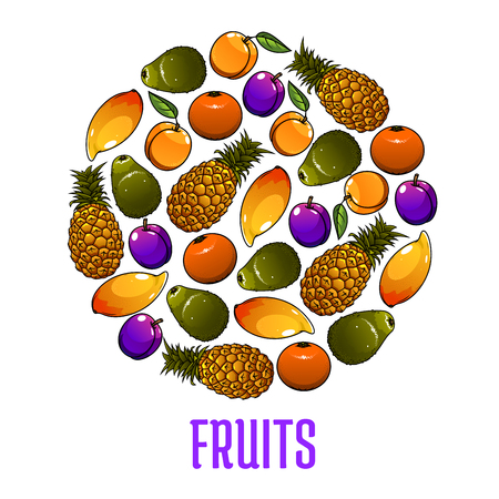 Fresh fruits icons in circle shape. Vector decoration element with tropical and exotic fruit symbols pineapple, mango, orange, pear, plum, apricot. Healthy lifestyle emblem design element