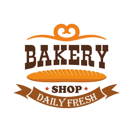 bagel: Bakery shop. Daily fresh baked wheat bread bagel. Baking products icon of baguette with ribbon and text and pretzel decorative element