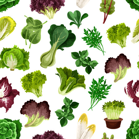 Salad greens and leafy vegetables pattern. Vegetarian fresh green sheaf of arugula, iceberg lettuce, cabbage, chard, chicory, escarole, kale, radicchio, spinach. Kitchen decoration background Illustration