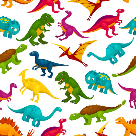 trex: Cartoon toy dinosaurs children seamless pattern. Vector colorful and cute icons of t-rex, tyrannosaurus, pterosaur, pterodactyl toy characters. Decoration design element for kindergarten, kids