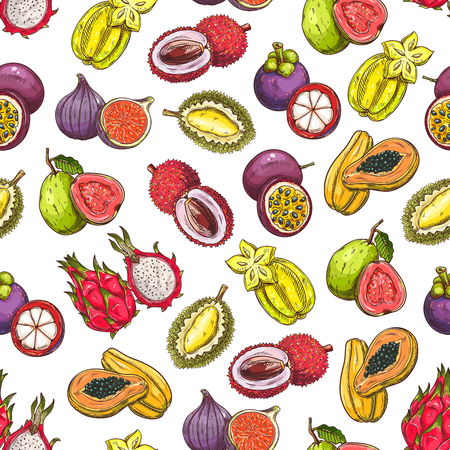 thai dessert: Exotic and tropical fruits pattern. Vector pattern of fresh and juicy ripe fruit icons dragon fruit, mangosteen, papaya, carambola, figs, guava, durian, lychee, passion fruit