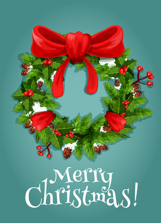 fir cone: Christmas tree wreath with red ribbon bow holiday card. Green branches of fir and holly trees with snow, red berry and cone. Merry Christmas, New Year eve themes design