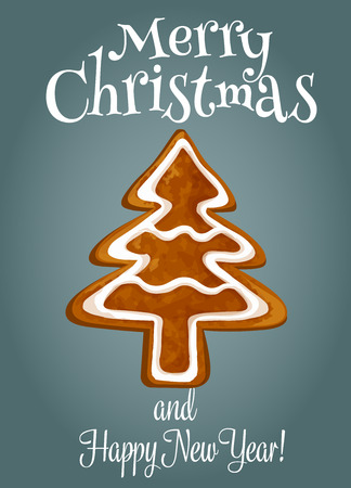 christmas poster: Christmas tree made of gingerbread holiday poster. Christmas ginger cookie in the shape of fir tree with sugar glaze. Merry Christmas and Happy New Year greeting card design Illustration