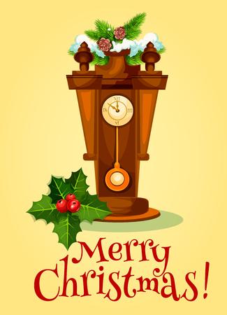 reloj de pendulo: Nueva tarjeta de felicitación del Año Nuevo reloj de péndulo de madera muestra casi la medianoche, adornada por árboles de Navidad y bayas de acebo con la hoja verde. Feliz Navidad diseño del cartel