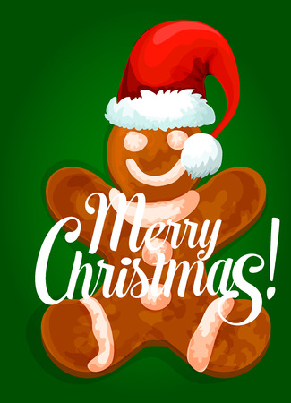Christmas card with gingerbread man in santas red hat, decorated by royal icing. Happy New Year poster or greeting card, xmas party invitation design