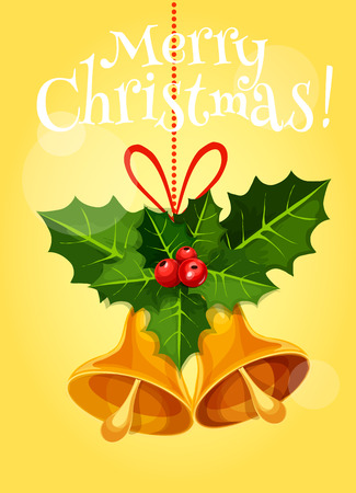 ilex: Christmas holiday greeting card. Golden christmas bell with holly berry and ilex leaf, tied with red ribbon. Xmas party poster, New Year postcard design Illustration