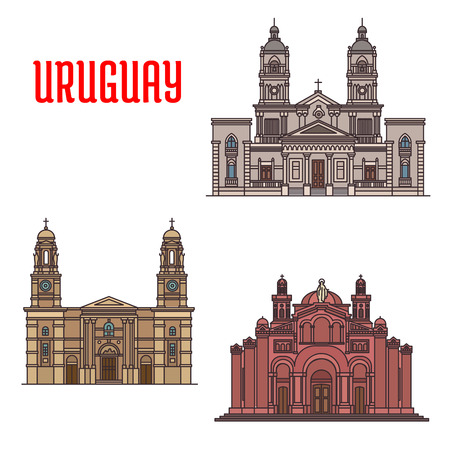 sacred heart: National Shrine of the Sacred Heart of Jesus, Church of Our Lady of the Mount Carmel, Cathedral of Mercedes. Famous architecture buildings of Uruguay. Vector detailed linear icons for souvenirs, travel guide