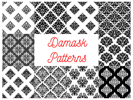 elegant backgrounds: Stylized floral damask seamless patterns. Vector decoration tiles with graphic flowery pattern. Elegant luxury baroque ornament backgrounds for design