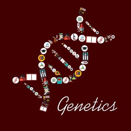 Genetische Wissenschaft Symbole in DNA-Form-Symbol. Vektor-Element mit wissenschaftlichen und medizinischen Objekten Formel, Mikroskop, Atom, Chemikalien, DNA Struktur, Buch, Molekül, Wasser, Rakete, Teleskop