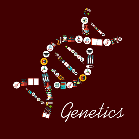 Genetic science symbols in DNA shape icon. Vector element with scientific and medical objects formula, microscope, atom, chemicals, dna structure, book, molecule, water, rocket, telescope