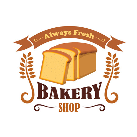 wheat bread: Bakery shop emblem with wheat bread brick. Daily fresh baked bread icon with ribbon and text for decoration design template Illustration