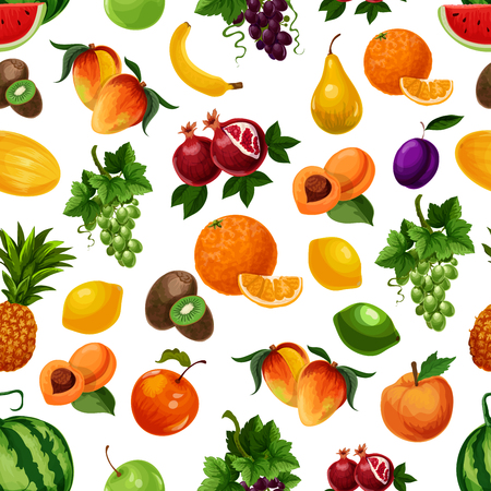 Vector pattern of fresh fruits with leaves.