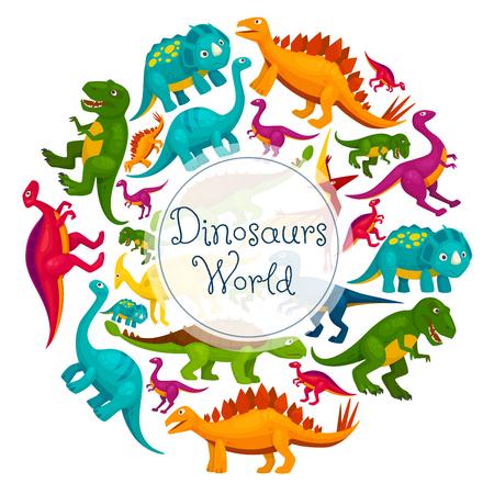 Dinosaurs world poster. Vector cartoon dinosaurs t-rex, tyrannosaurus, pterosaur and pterodactyl, triceratops and brontosaurus, eoraptor