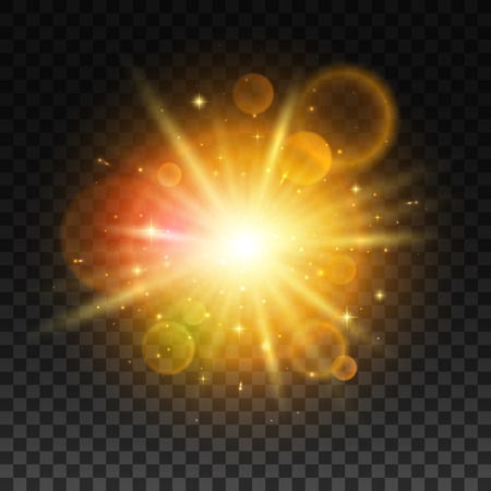 Luminous gold bright light flash with light lens flare effect. 일러스트