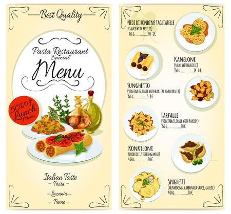 pasta sauce: Italian cuisine restaurant lunch menu card template. Vector icons of pasta, lasagna, penne, spaghetti dish elements with text, prices, discount offer Illustration