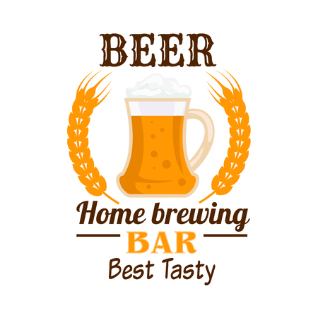 draught: Beer bar emblem. Frothy sparkling draught beer in glass mug with text and wheat ears. Home brewing icon for brewery pub sticker, label, oktoberfest signboard design element