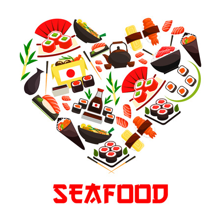 Seafood cuisine emblem in heart shape symbol with vector elements of oriental sushi rolls, salmon fish sashimi, steamed sticky rice, red caviar, ginger, soy sauce. Asian japanese kitchen decoration element Illustration