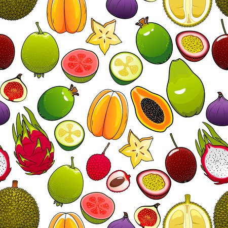 exotic fruit: Exotic and tropical fruits. Vector seamless pattern of bright, fresh, juicy, whole and cut papaya, mango, carambola, feijoa, passion fruit maracuja and dragon fruit, lychee and durian, pomelo, guava, fig, mangosteen Illustration