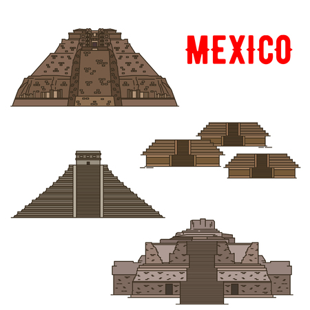 chichen itza: Mexican cultural ancient landmarks icons. Famous archeological Maya and Incas travel objects and sightseings. Vector elements of Uxmal, Teotihuacan, Chichen Itza, Ek Balam