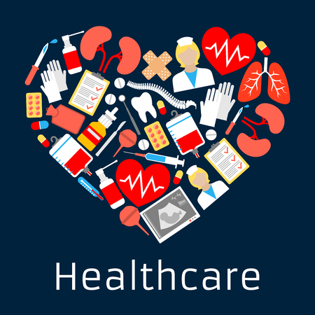 medications: Heart shape emblem with medicine symbols. Vector cardiology medical icon made of health care equimpnet and medications syringe, pills, doctor, dropper, ointment, lungs, stethoscope, vial, spray
