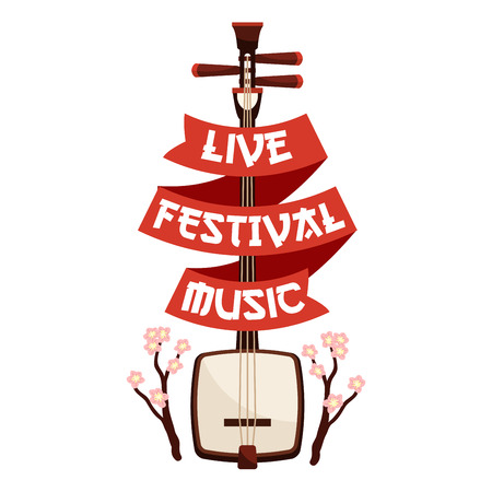 Live festival music emblem template. Japanese traditional biva, koto, lute string instrument with red ribbon and cherry blossom branches