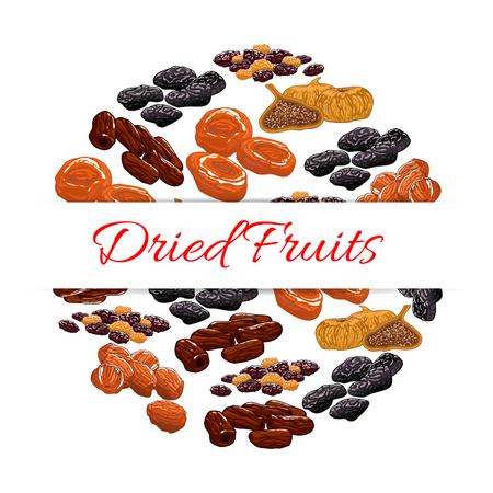 frutas deshidratadas: Las frutas secas decoración emblema. Elementos del vector de uvas pasas nutritivos secos, dátiles, higos, albaricoques, ciruelas, ciruelas pasas. diseño de aperitivos producto saludable para la etiqueta engomada, etiqueta, embalaje Vectores