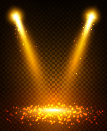 light beams: Gold spot light beams projection on scene stage. Sparkling disco light flashes with reflection on ground. Shining golden glitter sparkles from lightning lamps. Light effect on transparent background Illustration