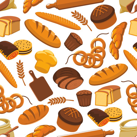 rye bread: Vector pattern of bread and bakery products. Seamless pattern of wheat and rye bread sorts, loaf, bagel, croissant. Patisserie elements bun, cake, cupcake, chocolate roll, rolling pin, cuting board. Kitchen decoration design