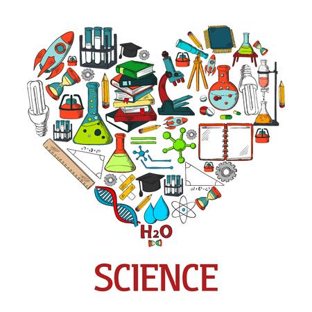 experimento: forma el emblema del corazón con los iconos de la ciencia de vectores. Científica conceptual decoración diseño elemento de prueba con el experimento de química, de investigación y equipos de laboratorio color de los símbolos