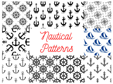 ship steering wheel: Nautical and marine concept patterns set. Vector pattern of anchor on chain, vessel ship steering wheel, compass arrows, yacht silhouette Illustration