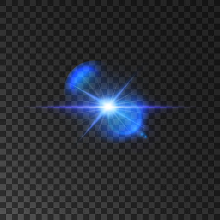 radiance: Flickering blue light flash of shining star. Twinkling star with bright radiance and lens flare effect on transparent background. Vector luminous beams shine