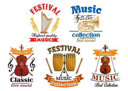 contrabass: Emblems for classic, live music festival, concert. Vector elements of musical instruments harp and trumpet, contrabass, drums, violin