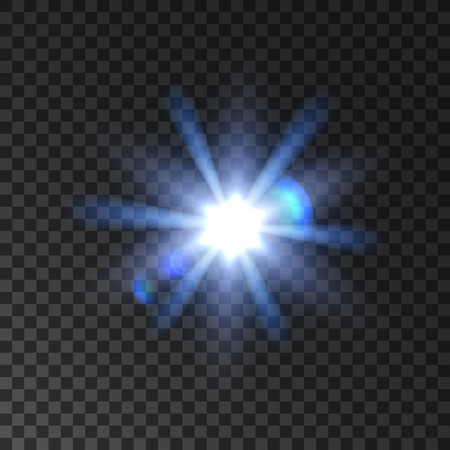 radiance: Star light flash glowing beams. Shining sun blur with lens flare effect. Bright luminous twinkling spotlight radiance and sparkling on transparent background Illustration