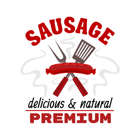 Sausage grill food label. Vector delicious hot grilled meat sausage with fork and spatula elements. Fast food barbecue emblem with text red ribbon for premium food snacks Illustration