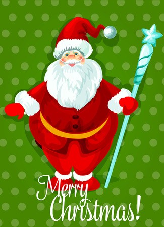 Santa Claus Christmas holiday poster. Smiling Santa in red hat and suit standing with icy staff, topped with star. Christmas greeting card, New Year decor, winter celebration theme design Illustration